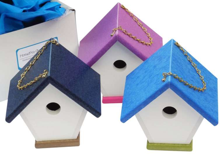 colorful wren houses with gift wrap